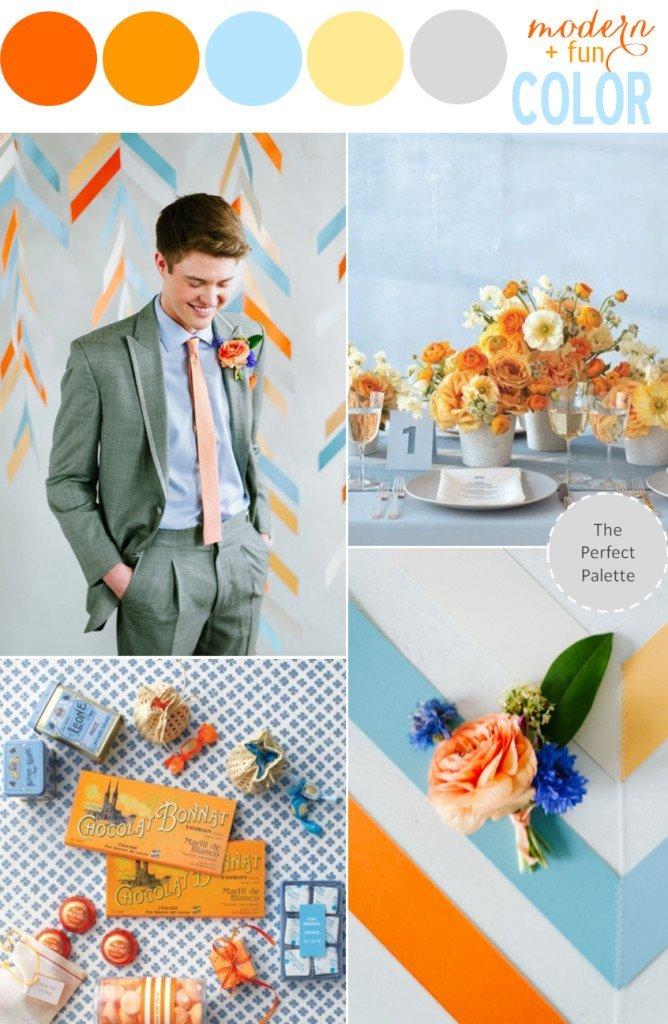 Orange,Blue,Yellow&Gray