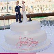 Cake with white ribbon