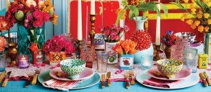 Bohemian wedding breakfast table set up